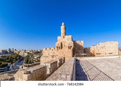 King David's tower (citadel) in old city of Jerusalem and view of the new Jerusalem.