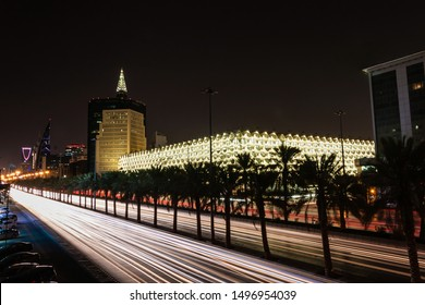 King Fahd Road and King Fahad National Library at night, Riyadh