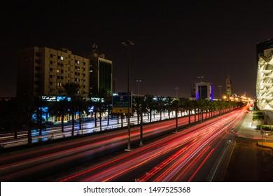 King Fahd Road at night, Riyadh