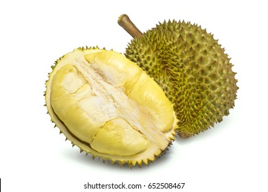 King of fruits, durian isolated on white background, durian fruit with delicious golden yellow soft flesh