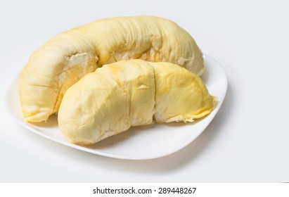 King of fruits, durian on white plate isolated