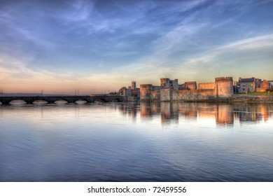 King John castle at sunset on the river Shannon in Limerick, Ireland.