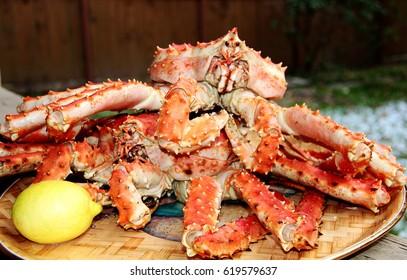 King / Kamchatka crab on a platter