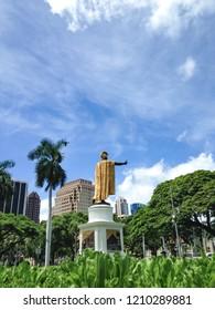 King, Kamehameha, Downtown Honolulu on Oahu, US, Vertical