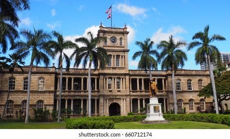 King Kamehameha statue and Aiiolani building Honolulu