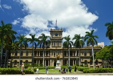 King Kamehameha Statue I In Aliiolani Hale. Seat of the Supreme Court of the State of Hawaii. Oahu, Hawaii, USA, EEUU.