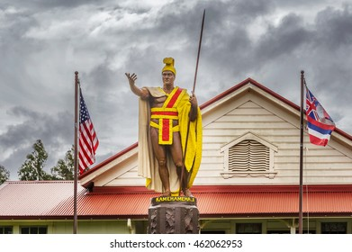 King Kamehameha Statue by Thomas Gould from 1878. The statue was lost at sea, miraculously recovered, restored and placed in Kapa'au in 1912 on Big Island of Hawaii.