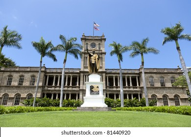 King Kamehameha I Statue, by Thomas Gould, in front of Ali?iolani Hale, the Hawaii Supreme Court Building on King Street in Honolulu.