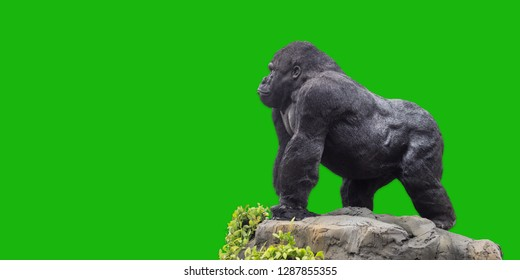 King Kong ( gorilla )statue on green background.