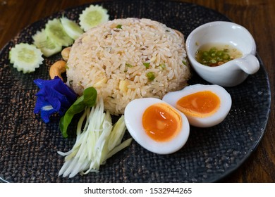 King mackerel fried rice and boiled eggs