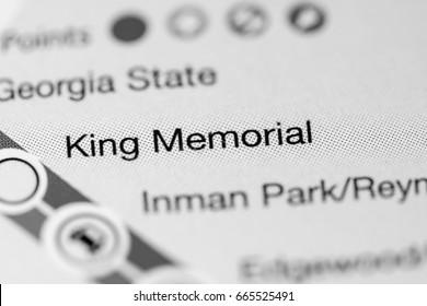 King Memorial Station. Atlanta Metro map.