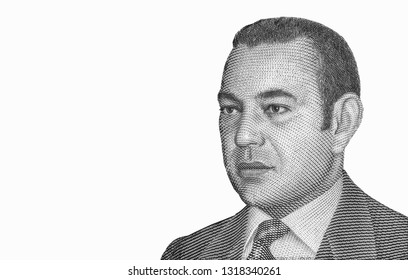 King Mohammed VI of Morocco. Portrait from Morocco 25 Dirham 1999 Banknotes. An Old paper banknote, vintage retro. Famous ancient Banknotes. Collection.
