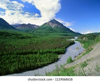 King Mountains and Matanuska River, Alaska
