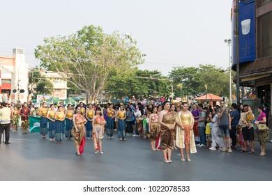 KING NARAI FESTIVAL  10 February 2018 , Lopburi , Thailand.  festival to celebrate King Narai the Great a parade of old culture thai fashion. the festival took place every February of the year.