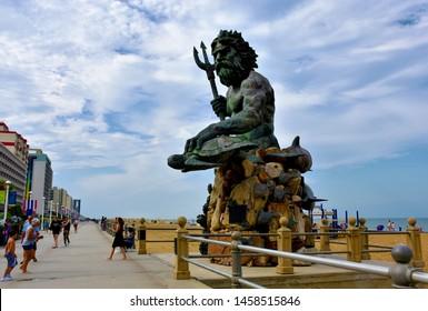 King Neptune Statue on Virginia Beach Boardwalk, Virginia Beach, Virginia, USA, July 16, 2019