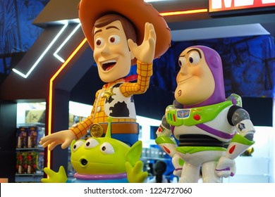 King Power, Bangkok Thailand. November 5th, 2018. Disney Celebration Event : there are many Toy Story friends such as Woody, Buzz and Green Alien in here, greeting them.