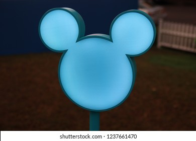 KING POWER Rangnam Thailand. November 17th, 2018. Mickey Mouse light figure for  Celebration of Mickey Mouse's 90th Anniversary.