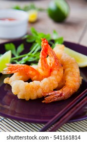 King Prawn Tempura with lime and coriander.