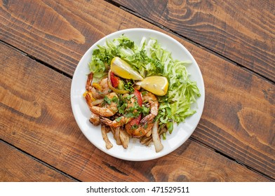 King prawns food dish with salad