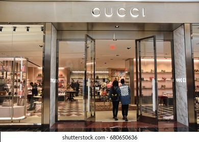KING OF PRUSSIA, PA - MAY 6: Gucci store at King of Prussia Mall in Pennsylvania, as seen on May 6, 2017. It is the largest shopping mall in the United States of America in leasable retail space.