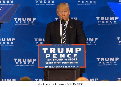 King of Prussia, PA - November 1, 2016: Donald Trump, the Republican nominee for President, makes a campaign stop near Valley Forge in Pennsylvania.