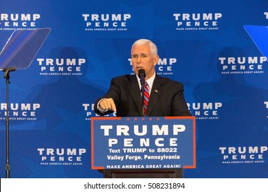 King of Prussia, PA - November 1, 2016: Mike Pence, the Republican candidate for Vice President, vows to repeal and replace Obamacare before introducing Donald Trump near Valley Forge, Pennsylvania.