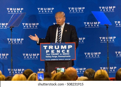 King of Prussia, PA - November 1, 2016: Donald Trump, campaigning for President, promises criticizes Obamacare during campaign stop near Valley Forge in Pennsylvania.