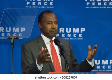 KING OF PRUSSIA, PA - NOVEMBER 1, 2016: Dr. Ben Carson delivers a speech at a campaign even for Donald Trump and Mike Pence at the DoubleTree Hotel.