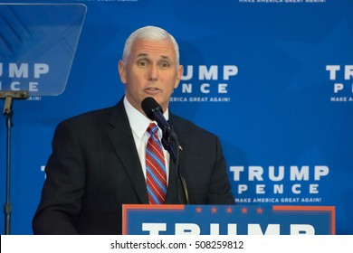 KING OF PRUSSIA, PA - NOVEMBER 1, 2016: Governor Mike Pence delivers a speech at a campaign even for Donald Trump and Mike Pence at the DoubleTree Hotel. Pence focused on the Affordable Care Act.