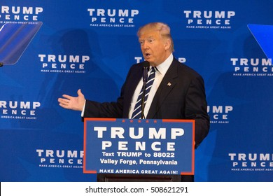 King of Prussia, PA - November 1, 2016: Donald Trump, Republican candidate for President, promising to repeal and replace Obamacare at a media event at Valley Forge.