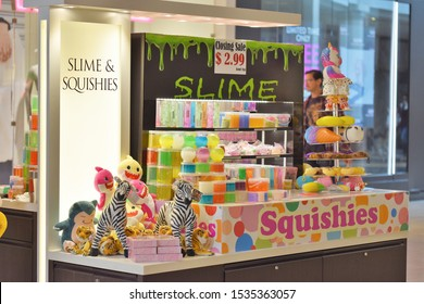 King of Prussia, PA/USA-Oct. 18, 2019:  Kiosk in the King of Prussia Mall, selling squishies and slime, is reducing prices to liquidate merchandise.  Fad gifts, stocking stuffers,  tchotchkes, baubles