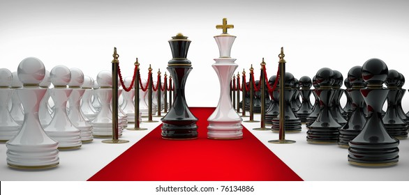 King and Queen chess on red carpet isolated. 3d render