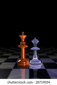 King and queen chessmen on a chessboard floor. Rendered 3d project