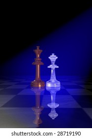 King and queen chessmen on a chessboard floor under blue light