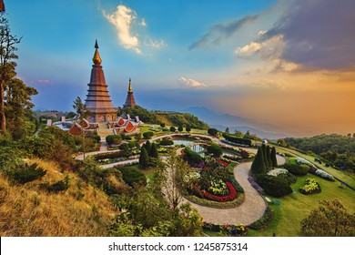 King and Queen pagoda of Doi Inthanon Chiangmai Thailand