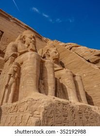 King Rameses 2 statue in front of the grand temple at Abu simbel