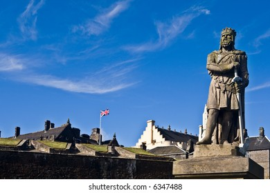 King Robert The Bruce statue under a cloudy sky, in the castle of Stirling, Scotland