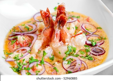 King shrimps with vegetables at cream sauce