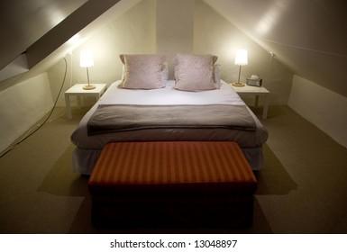 King Sized bed in a loft