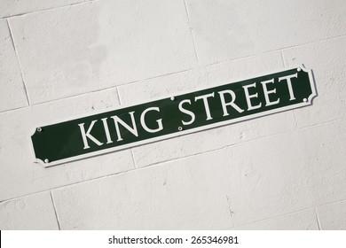 King Street Road Sign on Diagonal Slant