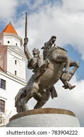 King Svatopluk statue in front of medieval castle in Bratislava, Slovakia.