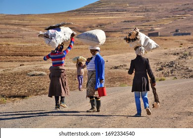 Kingdom of Lesotho, Africa – 26th of July 2019: Villagers from Basotho people, met near the city of Roma.
