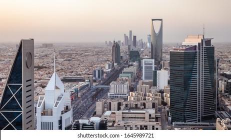 Kingdom of Saudi Arabia Landscape by day - Riyadh Tower Kingdom Center - Kingdom Tower - Riyadh skyline - Riyadh by day