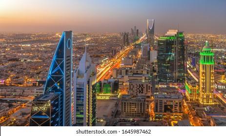 Kingdom of Saudi Arabia Landscape at night - Riyadh Tower Kingdom Center - Kingdom Tower - Riyadh skyline - Riyadh at night