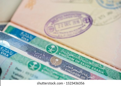 Kingdom of Saudi Arabia visa stamps and approval.