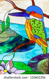 Kingfisher in Modern Stained Glass