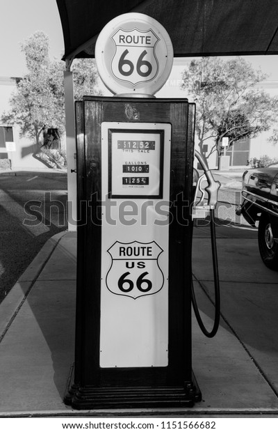 Kingman, Arizona, USA, July 2, 2018 - old Route 66, shows vintage Gas Pump in black and white