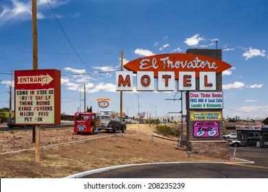 KINGMAN, AZ - MAY 8, 2014:  Route 66 landmark El Trovatore motel in Kingman Arizona.  This historic roadside motel is one of the few pre-World War II Kingman Arizona motels that are still standing.