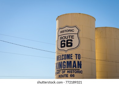 KINGMAN, AZ - sep 25: Old water tower and storage tanks in Kingman, Route 66, on SEP 25, 2016, in Kingman, Arizona, USA. The Route 66 is attracting visitors year-round from all of the world.