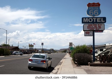 Kingman - USA - August 13, 2015 picture: Gas station and commerce along Route 66, the legendary road that crosses the United States of America